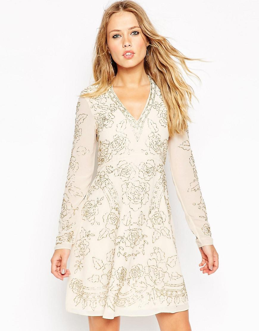 cd96d91c41b Needle   Thread Lace Embellished Plunge Skater Dress - Cream in ...