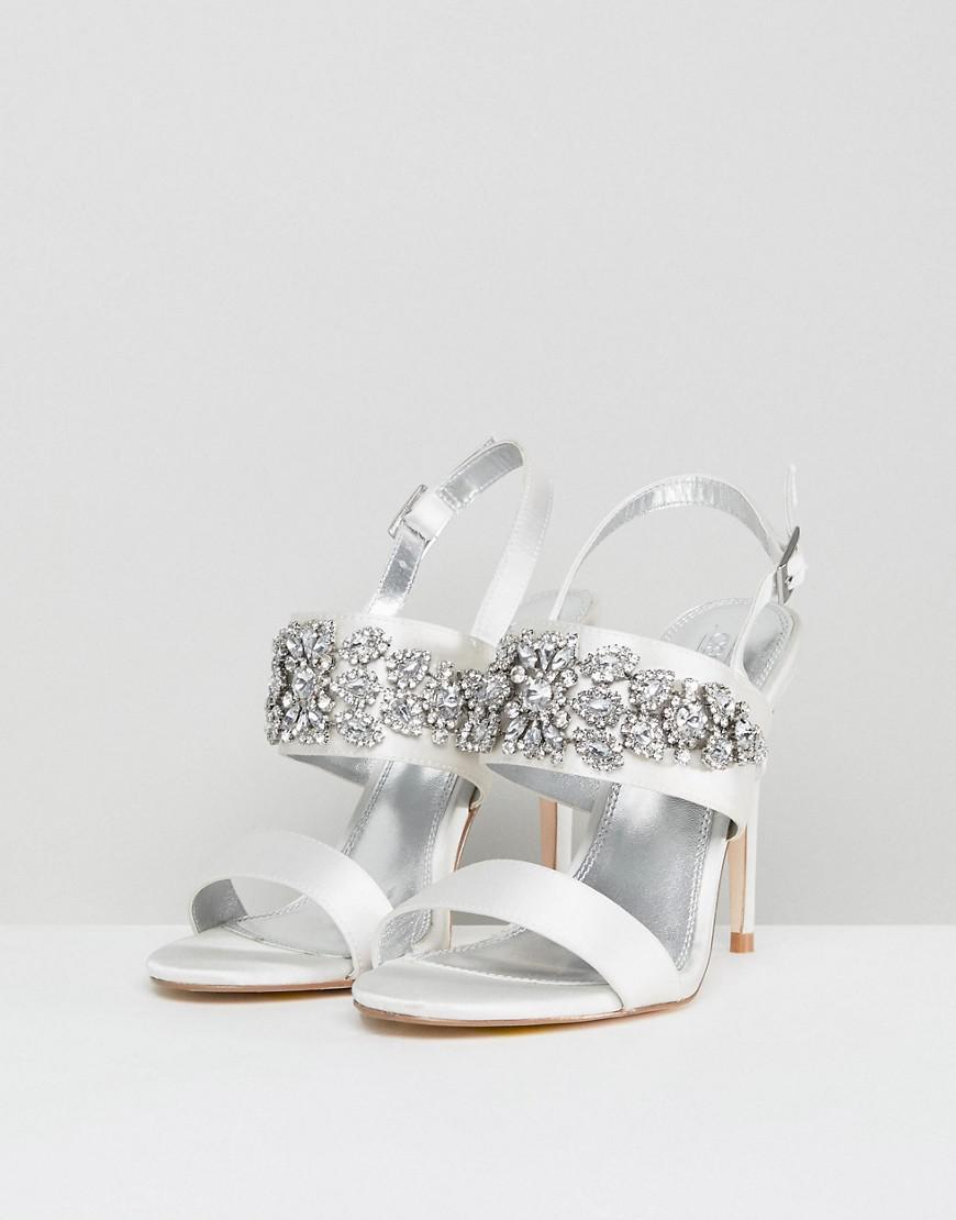 086fe5c221 Lyst - ASOS Willow Wide Fit Bridal Embellished Heeled Sandals
