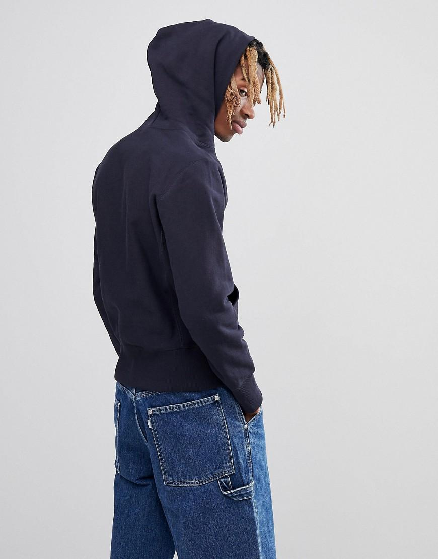 e1f21cf2 Champion Reverse Weave Hoodie With Small Logo In Navy in Blue for Men - Lyst