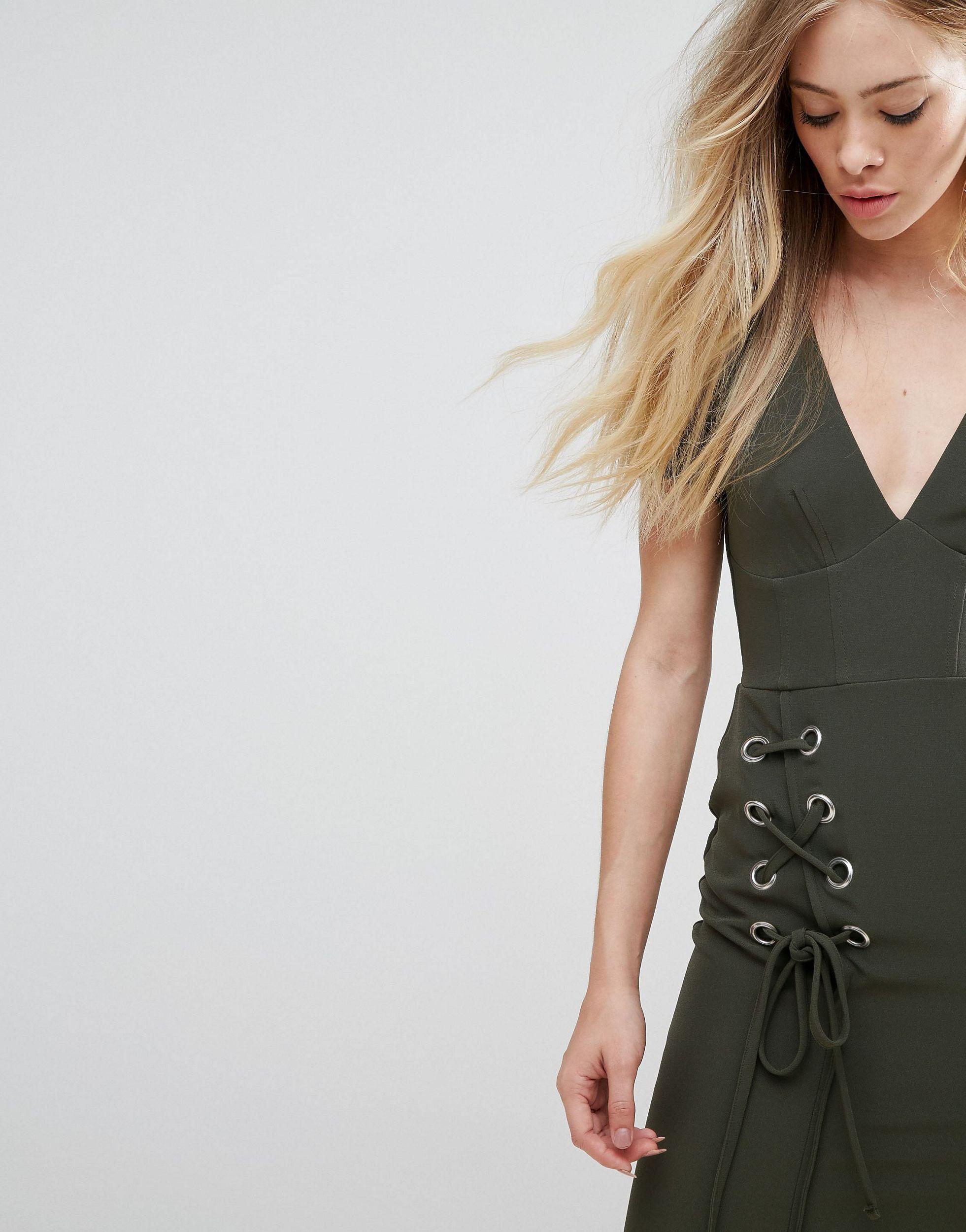 ASOS - Robe courte à lacets Synthétique ASOS en coloris Vert