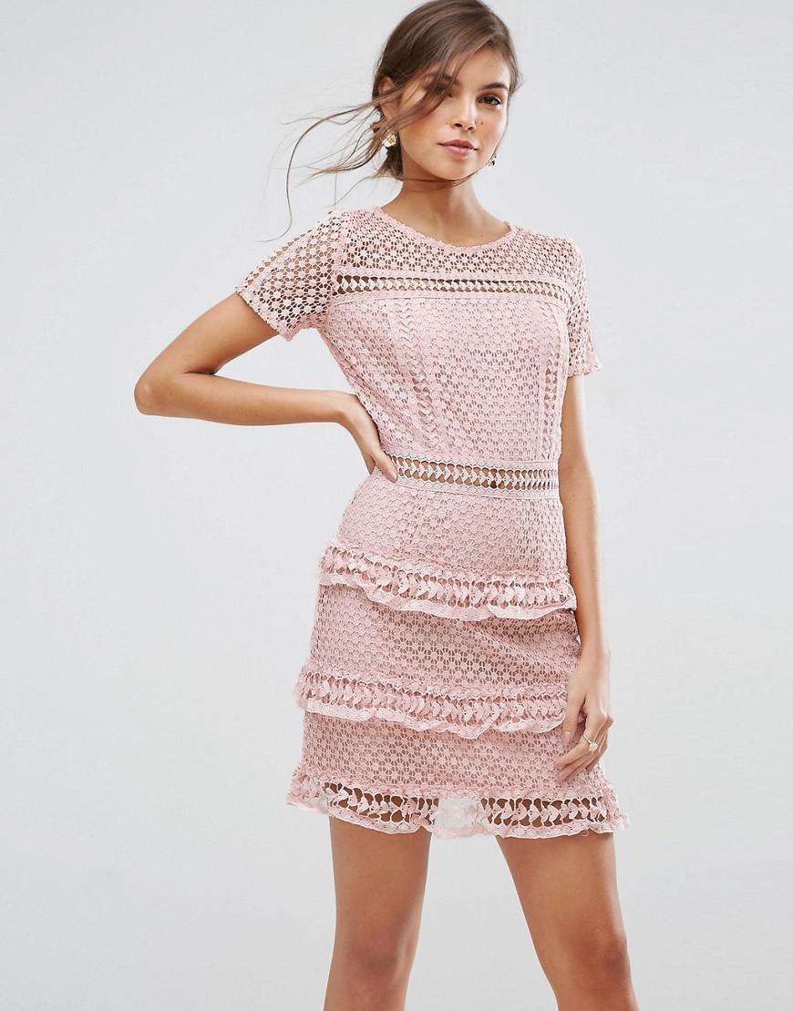 b0ad92d7402 Liquorish Layered Lace Dress in Pink - Lyst