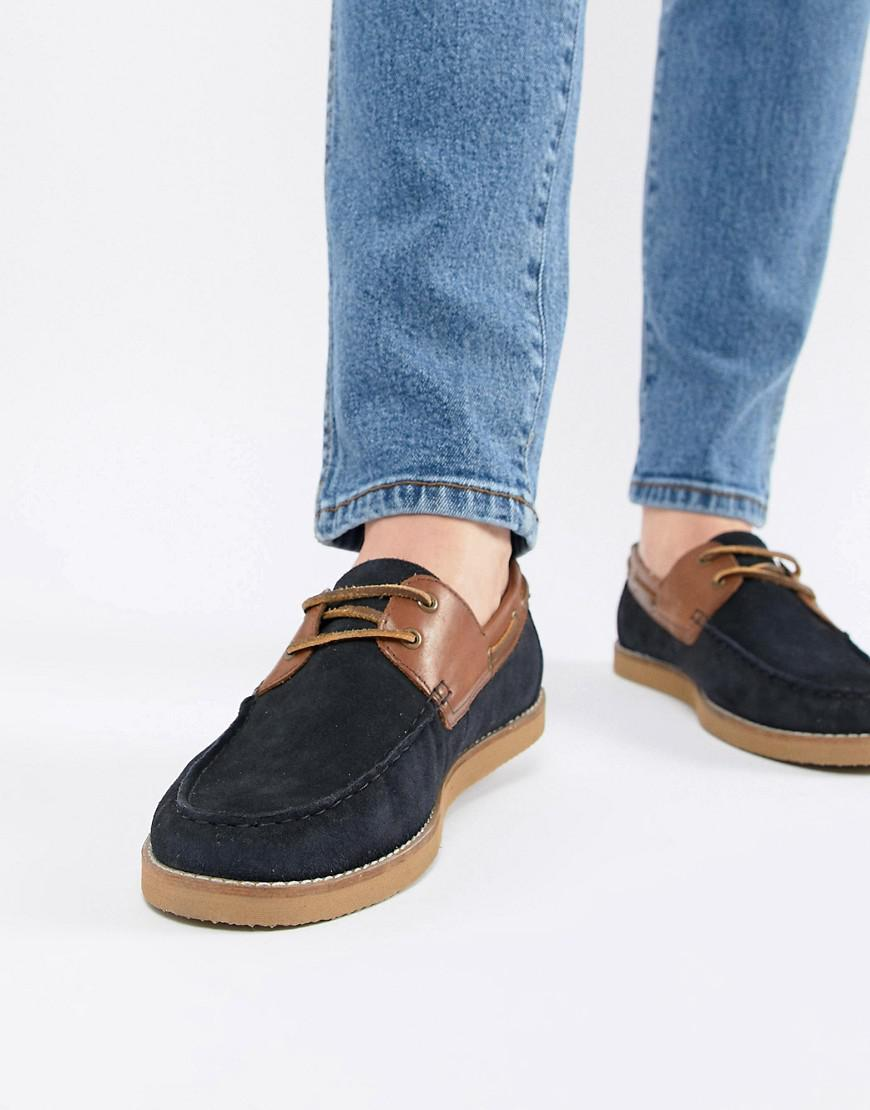 52d5cc17aed9 Lyst - ASOS Boat Shoes In Navy Suede With Tan Leather Detail in Blue ...