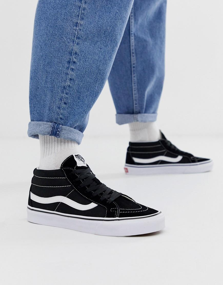 Vans Leather Sk8-mid Trainers in Black for Men - Lyst