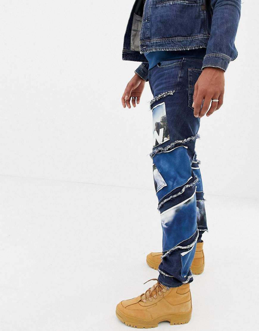 Jeans Jaden Patches Waterfall Raw Slim Smith In 3d Star X G Spiral TxvwH4gq