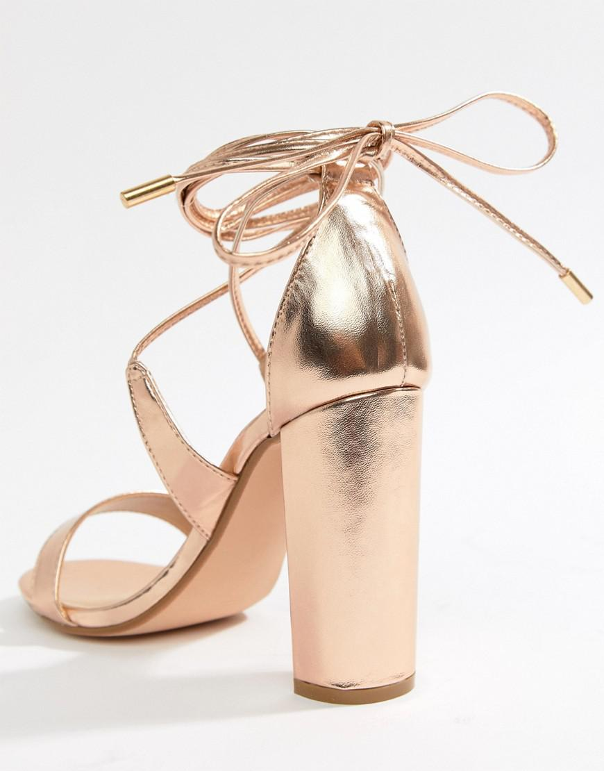5eaa4e24956 True Decadence Rose Gold Ankle Tie Block Heeled Sandals in Metallic ...
