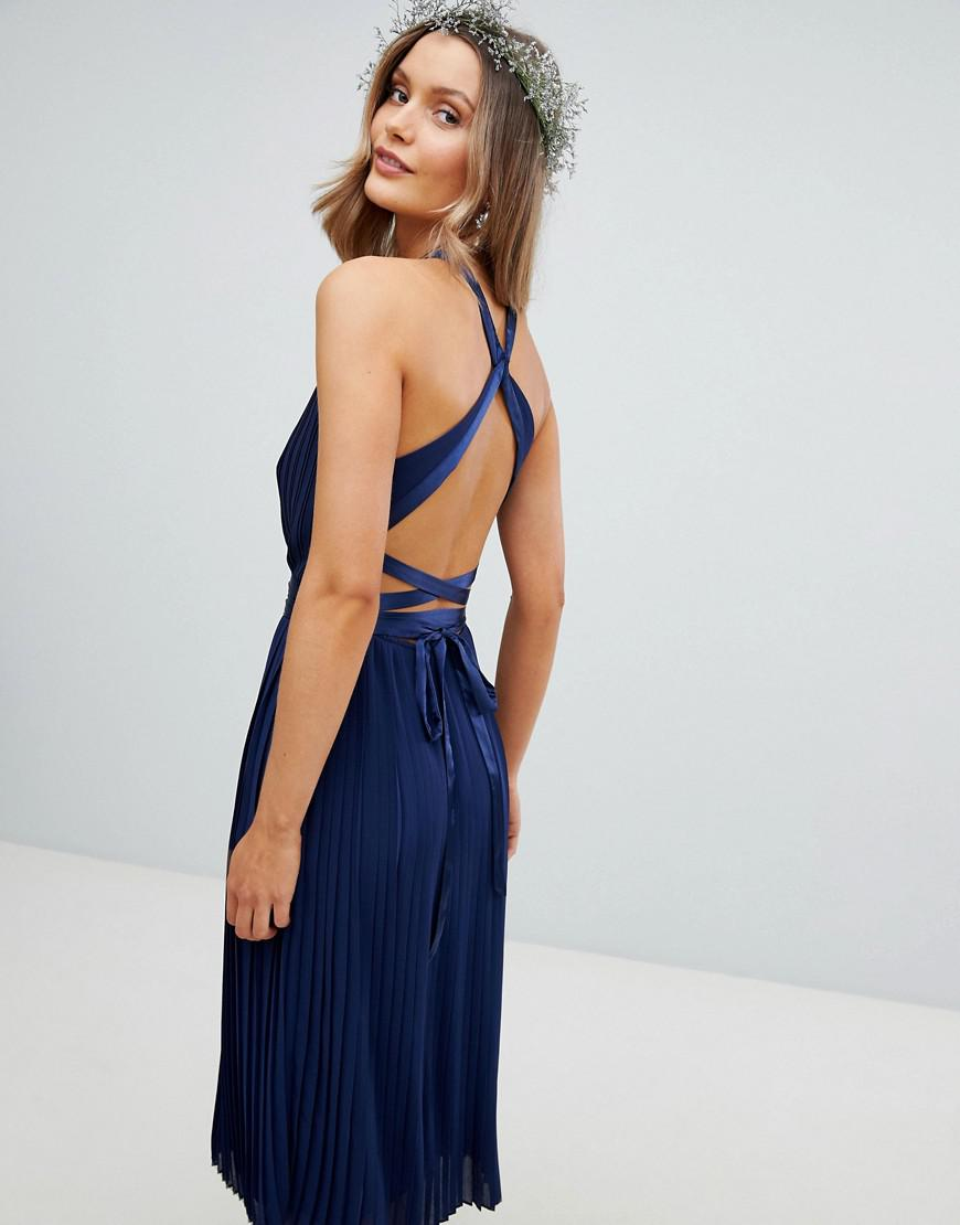 f9416ae97217 TFNC London Pleated Midi Bridesmaid Dress With Cross Back And Bow Detail in  Blue - Lyst