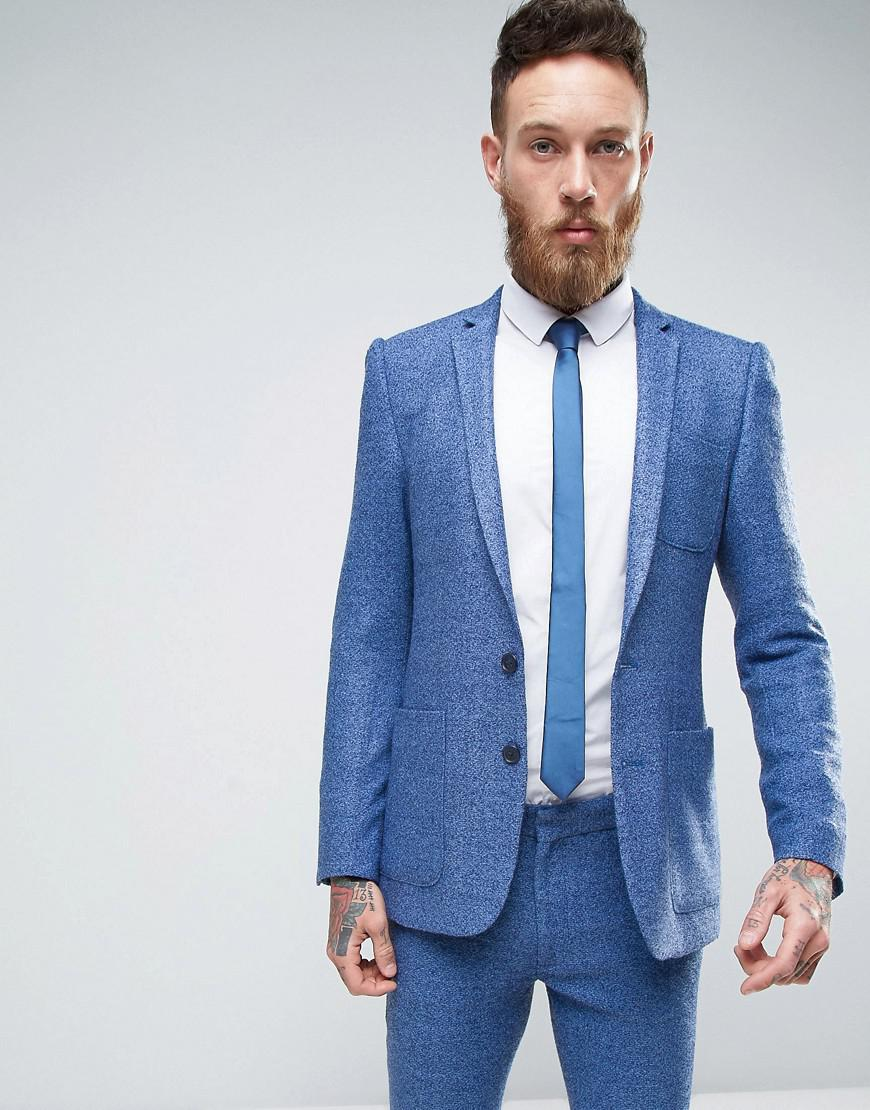Lyst - Asos Super Skinny Suit Jacket In Mid Blue Neppy Jersey in ...