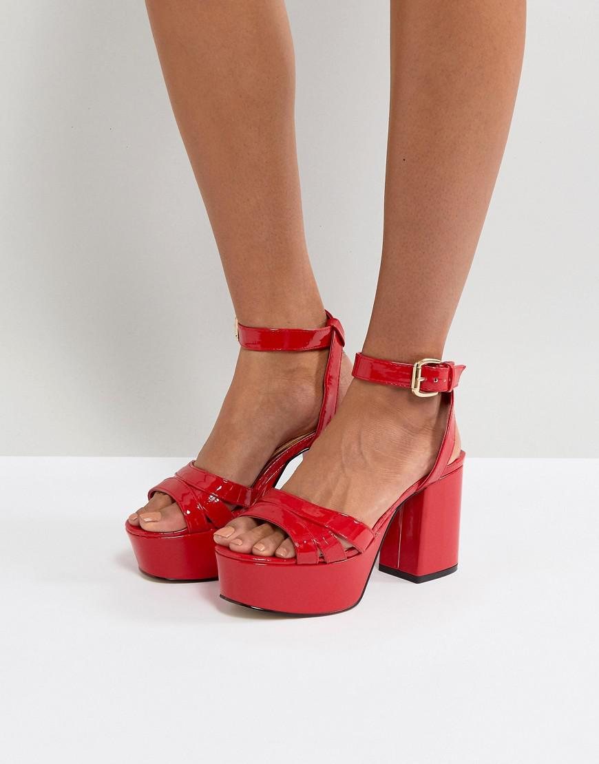 847f67d6580092 Lyst - River Island Faux Leather Platform Sandals in Red
