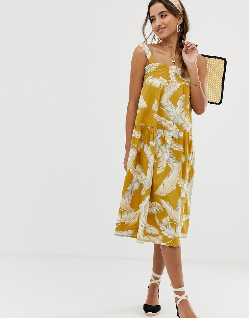 7faa8587d4a ASOS Trapeze Midi Cotton Sundress In Palm Print in Yellow - Lyst