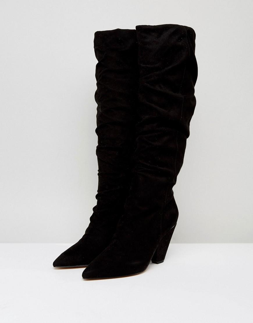 ASOS Asos Canyon Ruched Knee Boots in Black