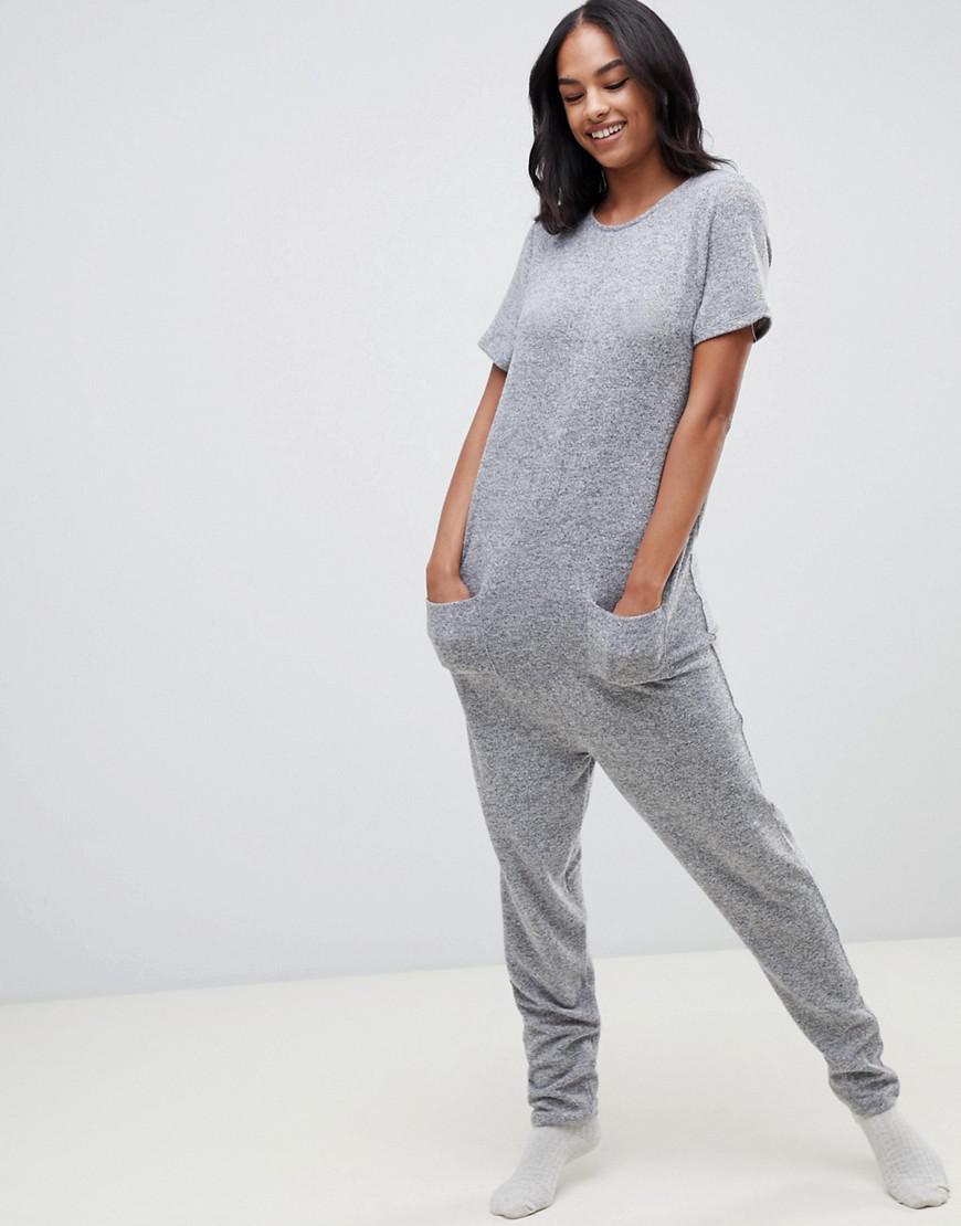 ce49e7b81b2d Lyst - ASOS Lounge Short Sleeve Super Jumpsuit in Gray