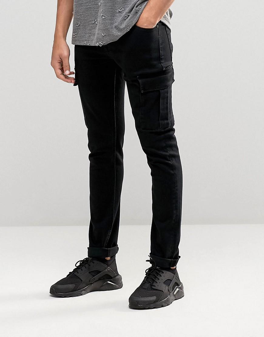 asos super skinny jeans with cargo pockets in black in black for men. Black Bedroom Furniture Sets. Home Design Ideas