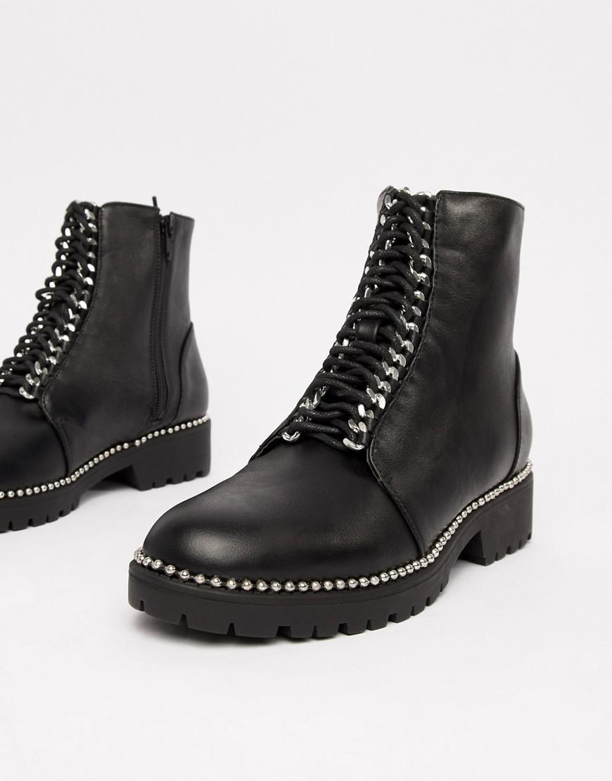 638910247 Grosses bottines à lacets femme de coloris noir