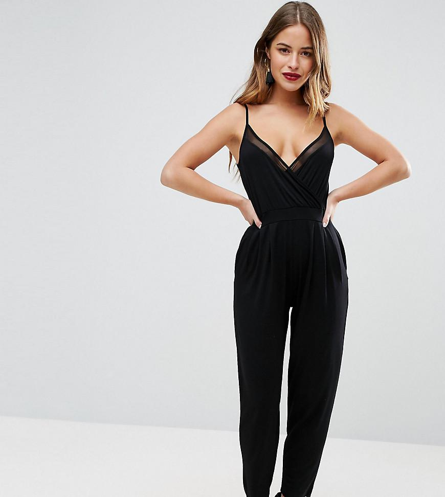 ef9bfcb42ed Asos Cami Wrap Jumpsuit With Mesh Insert Detail in Black - Lyst
