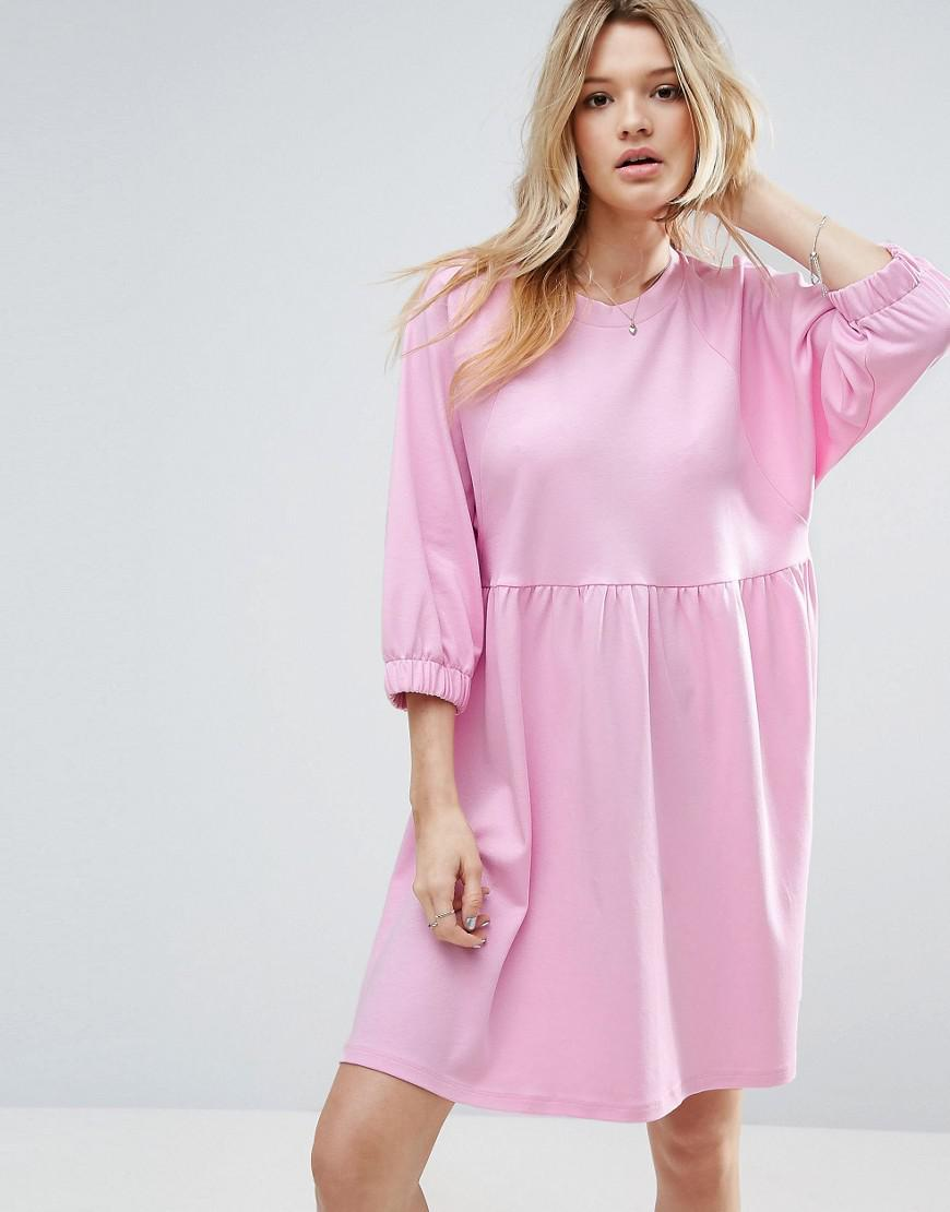 2252720a01 Lyst - ASOS Cotton Smock Dress With Elastic Cuff Detail in Pink