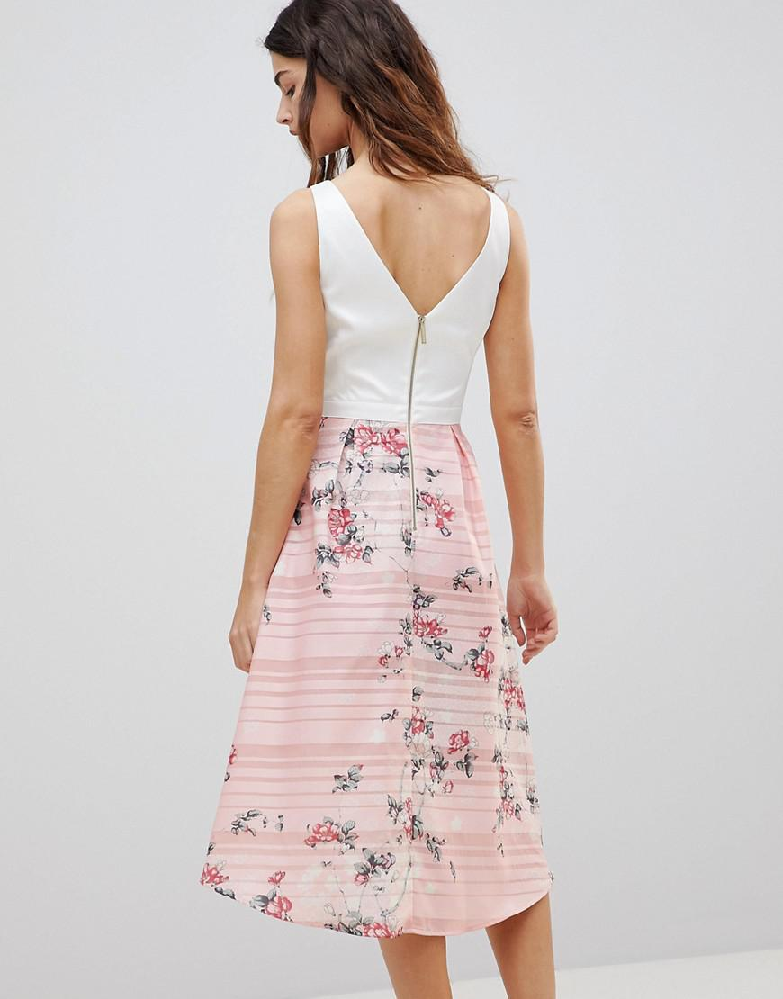017f7a4c932 Oasis 2-in-1 Midi Dress With Floral Skirt in Pink - Lyst
