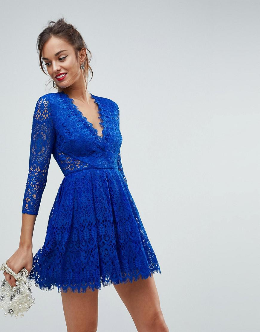 048903c75ead ASOS Asos Long Sleeve Lace Mini Prom Dress in Blue - Lyst
