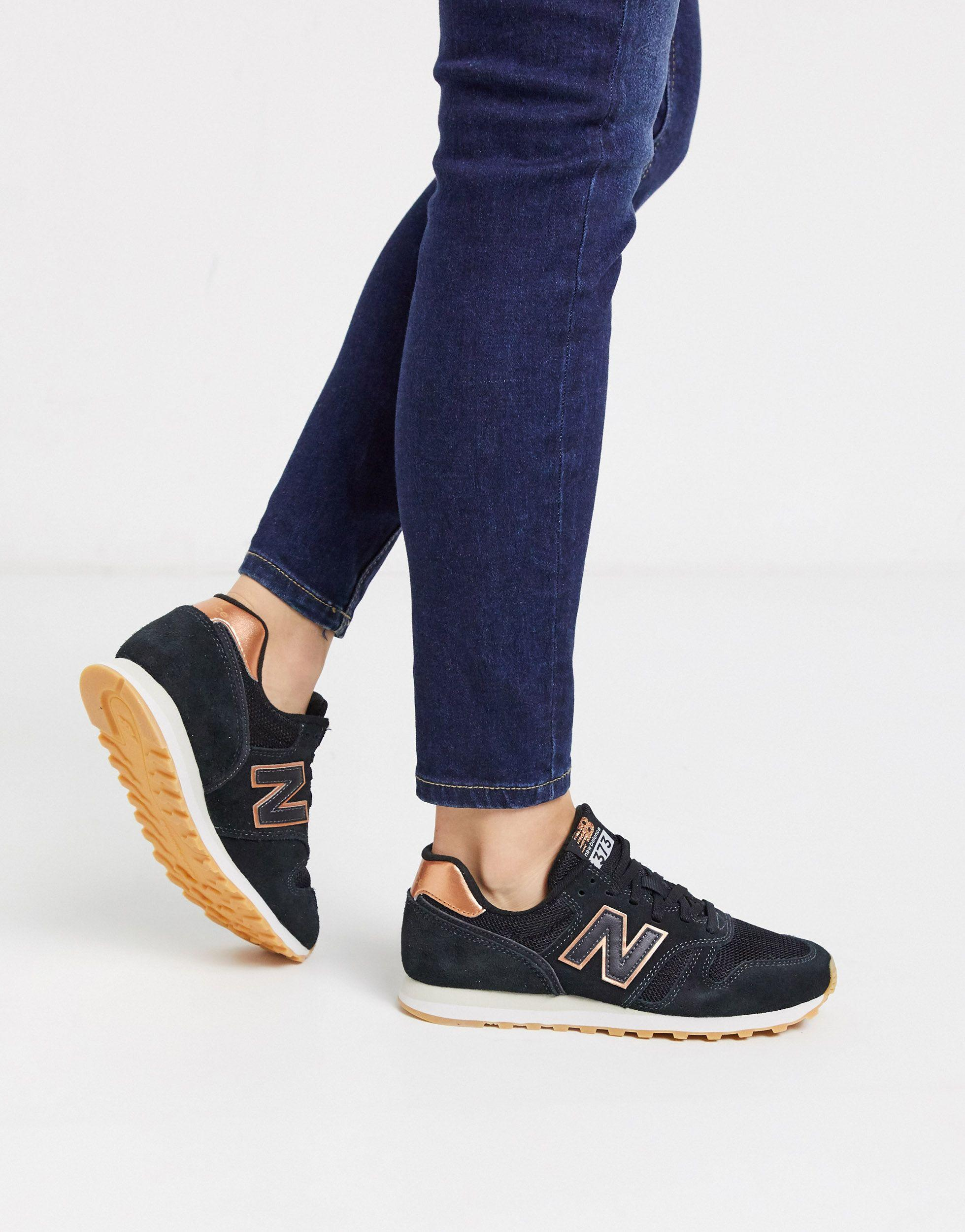 373 Womens Black / Rose Gold Trainers