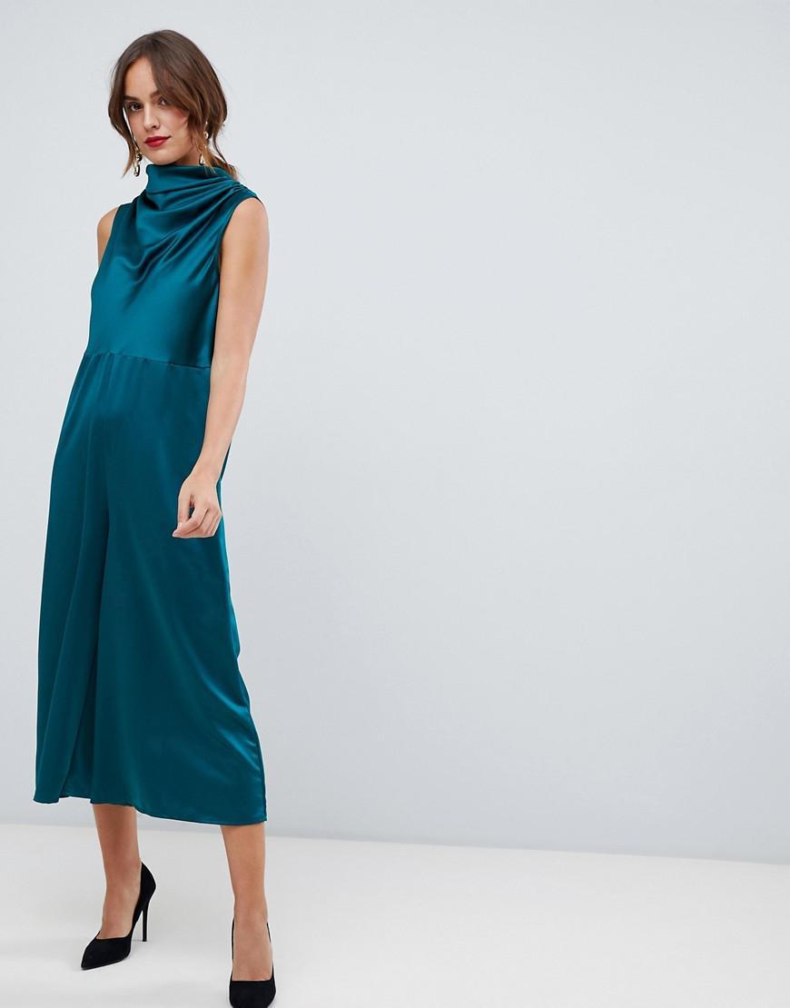 657665bf716 Lyst - ASOS Minimal Satin Jumpsuit With Cowl Neck in Green