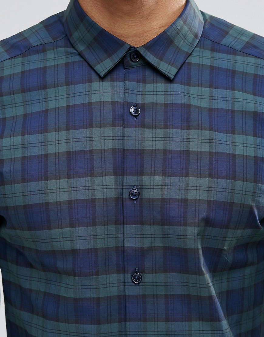 Lyst - Asos Skinny Shirt In Blackwatch Check With Long Sleeves in Blue for  Men