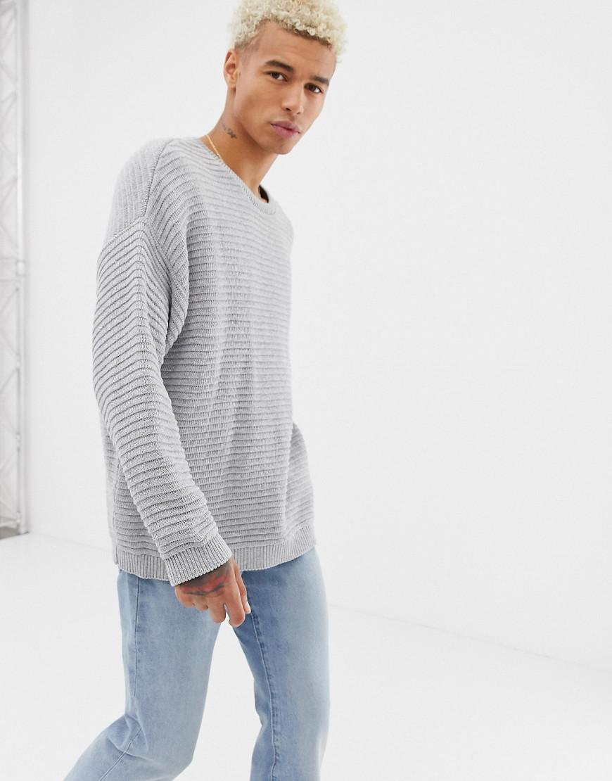 a4bda5dc060 Lyst - ASOS Midweight Oversized Textured Sweater In Gray in Gray for Men