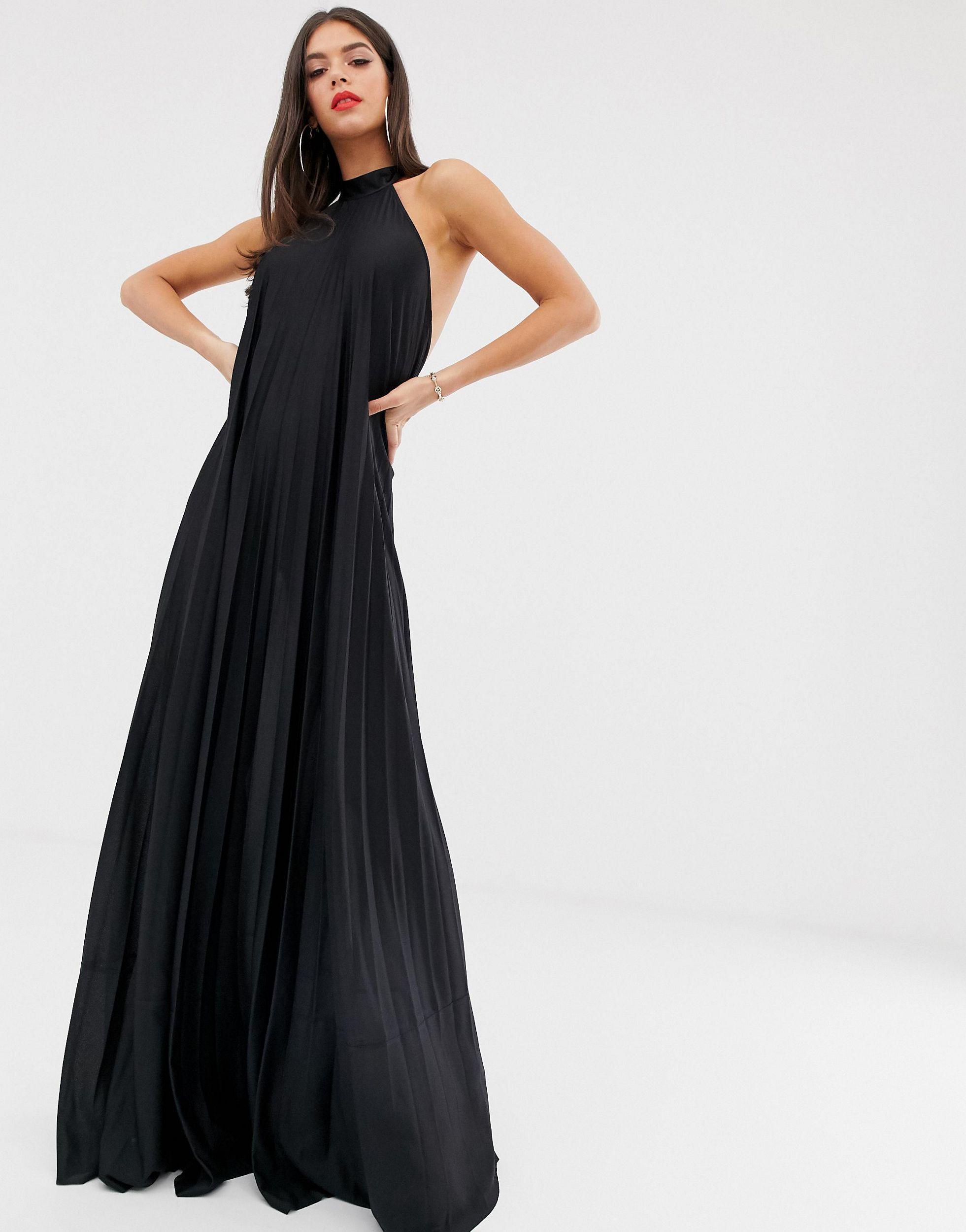 ASOS DESIGN Tall - Robe longue plissée dos nu Synthétique ASOS en coloris Noir