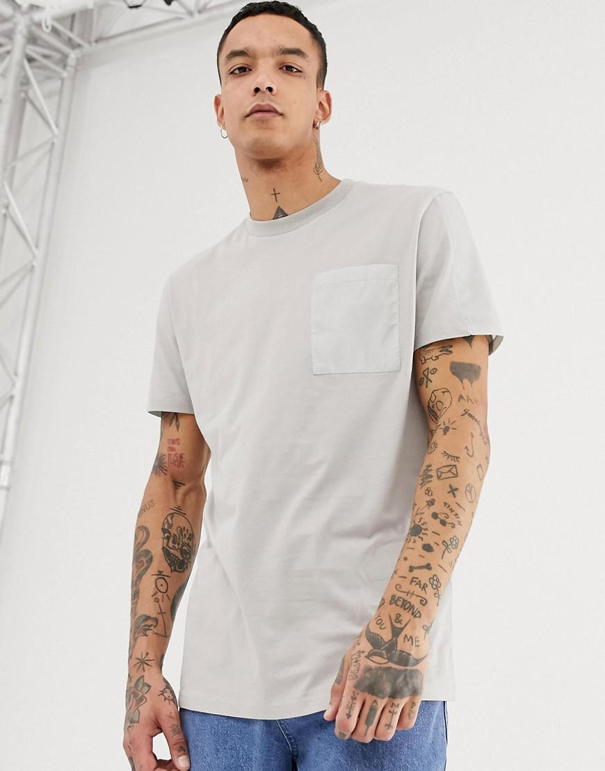 3de02b376de0 Asos Relaxed Longline T-shirt With Contrast Pocket And Panels In ...