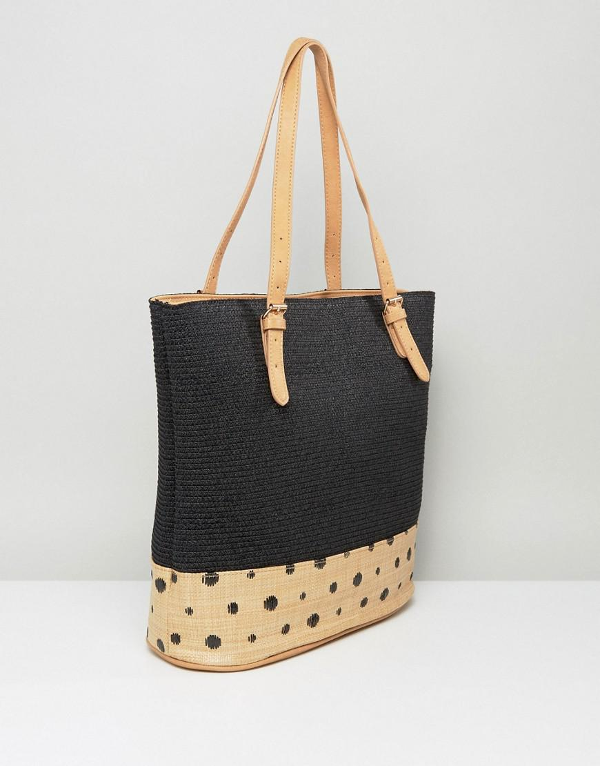 Pia Rossini Cotton Large Summer Tote With Spot Trim in Black