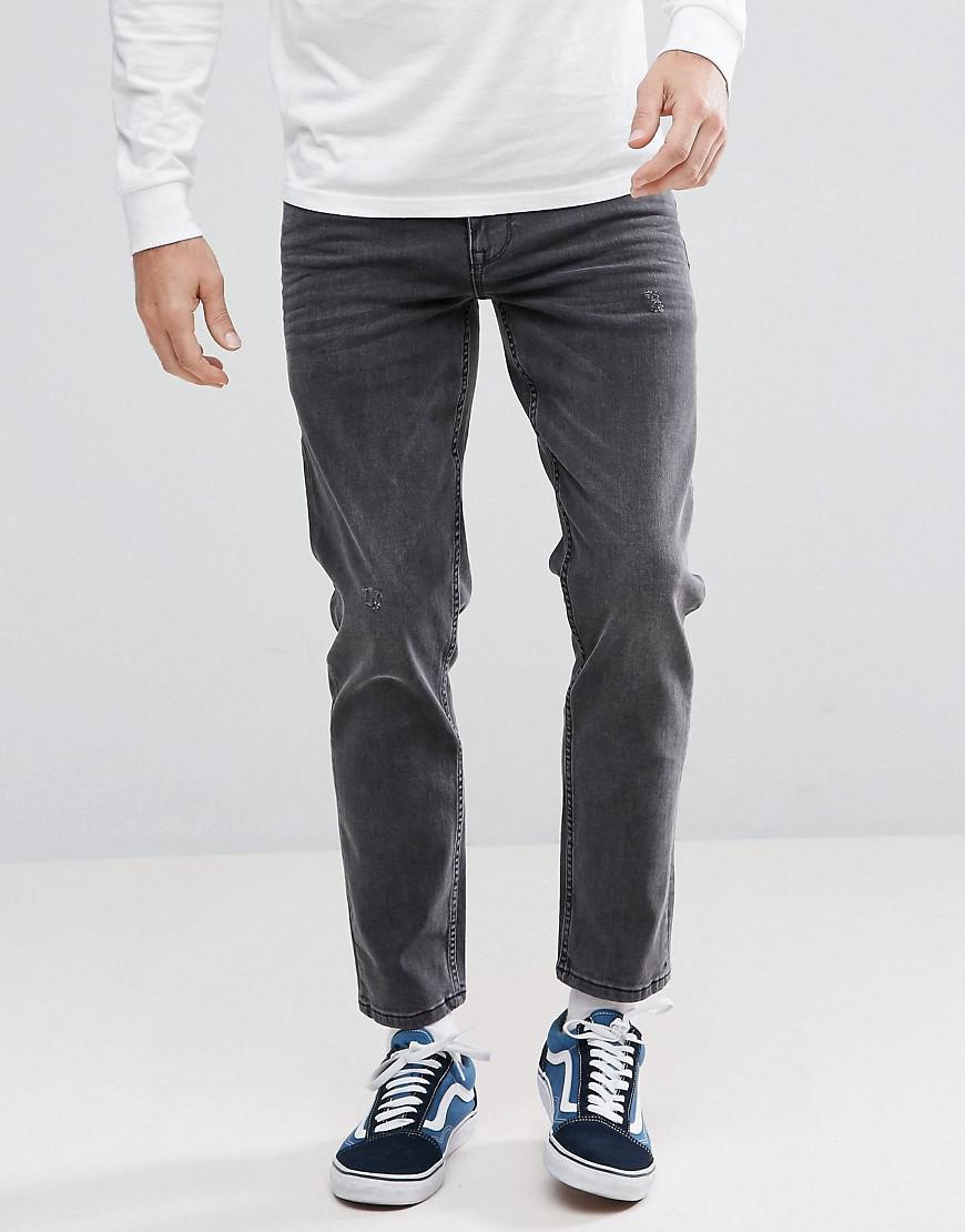 lyst asos stretch slim jeans in vintage washed black in. Black Bedroom Furniture Sets. Home Design Ideas