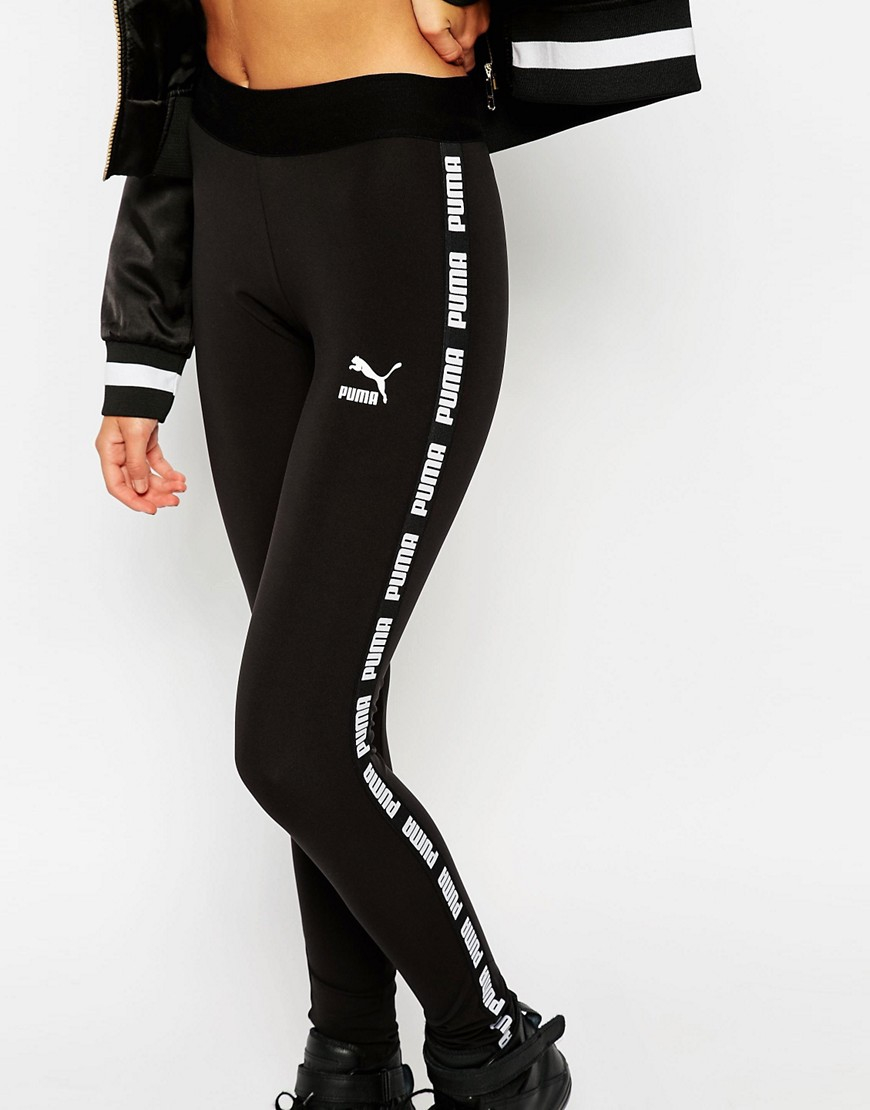 lyst puma black leggings with taped sides in black