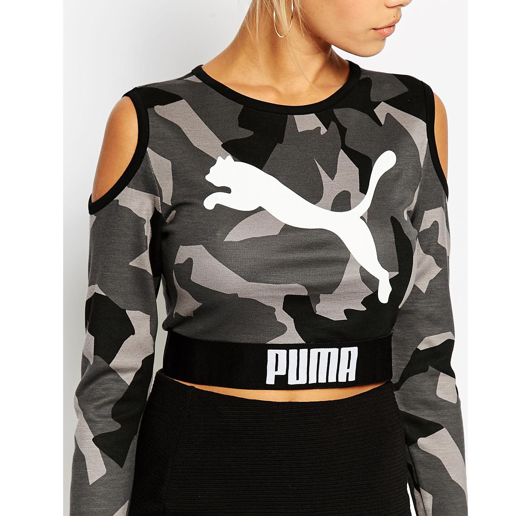 8beb1cf6b2613 Lyst - PUMA Cropped Sweat With Cold Shoulder Detail in Black