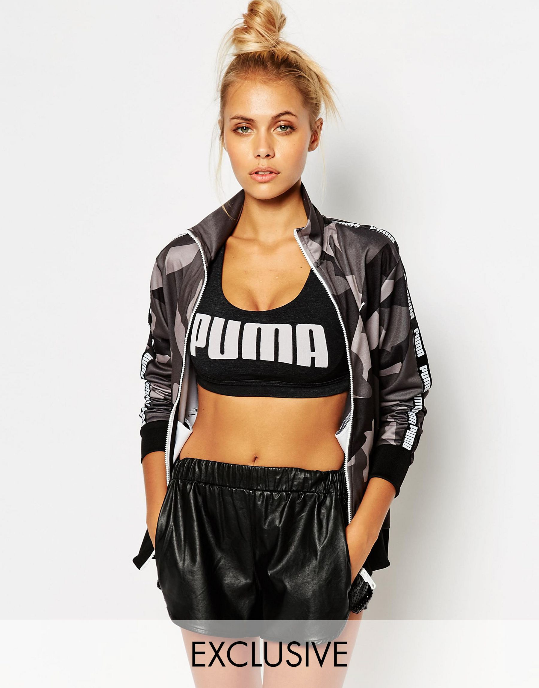 Puma Grey Camo Print Full Zip Track Jacket In Black Lyst