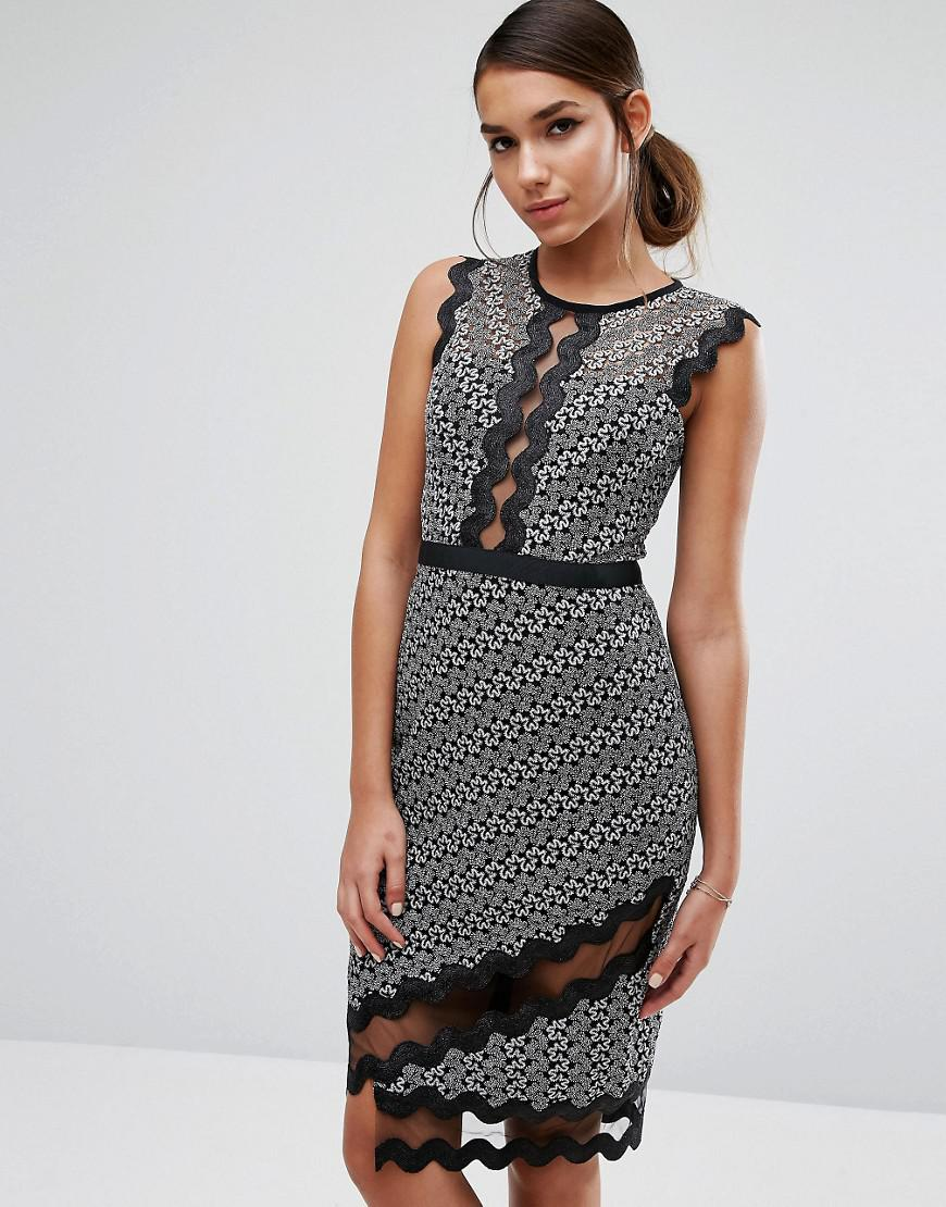 Midi Pencil Dress In Contrast Lace With Piping