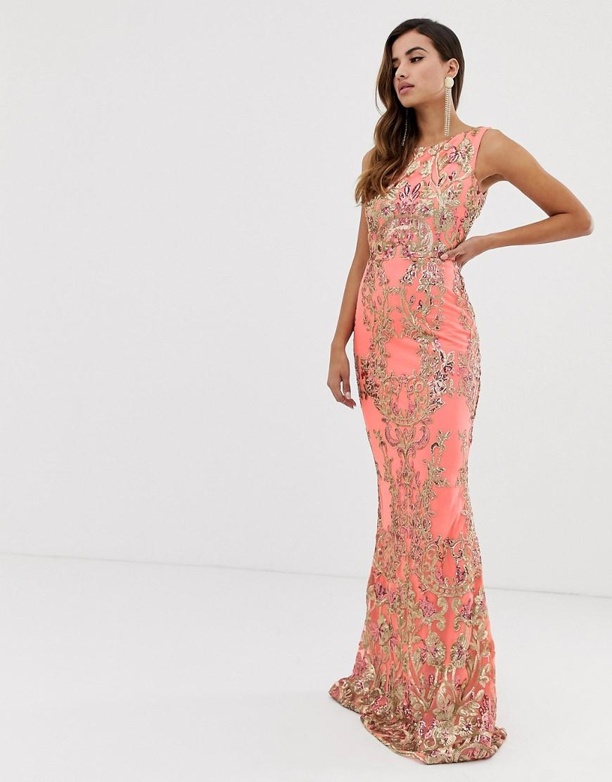 7e4d987e6b5f Goddiva High Neck Maxi Embellished Sequin Dress In Coral With Gold ...