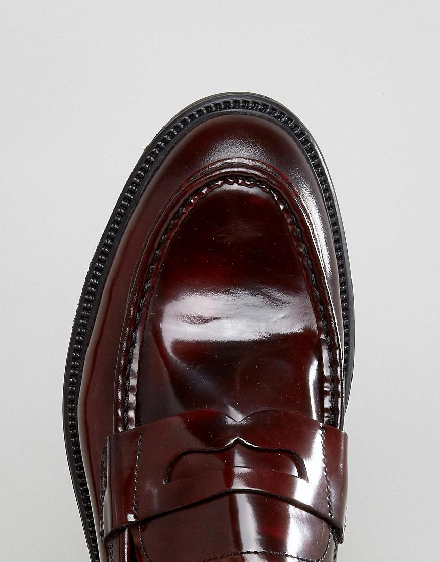 Vagabond Leather Hi Shine Penny Loafers in Red for Men