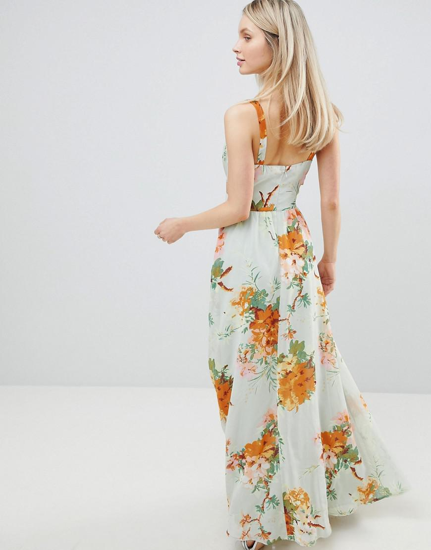 617f11cc4f0 ASOS Maxi Dress With Side Cut Out In Green Floral Print in Green - Save 44%  - Lyst