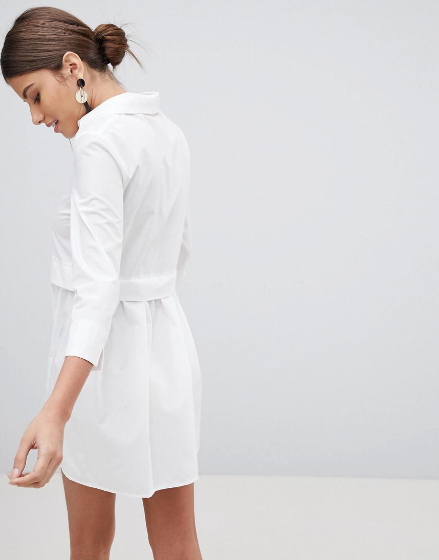 abc51aa1406 PrettyLittleThing Skater Shirt Dress in White - Lyst