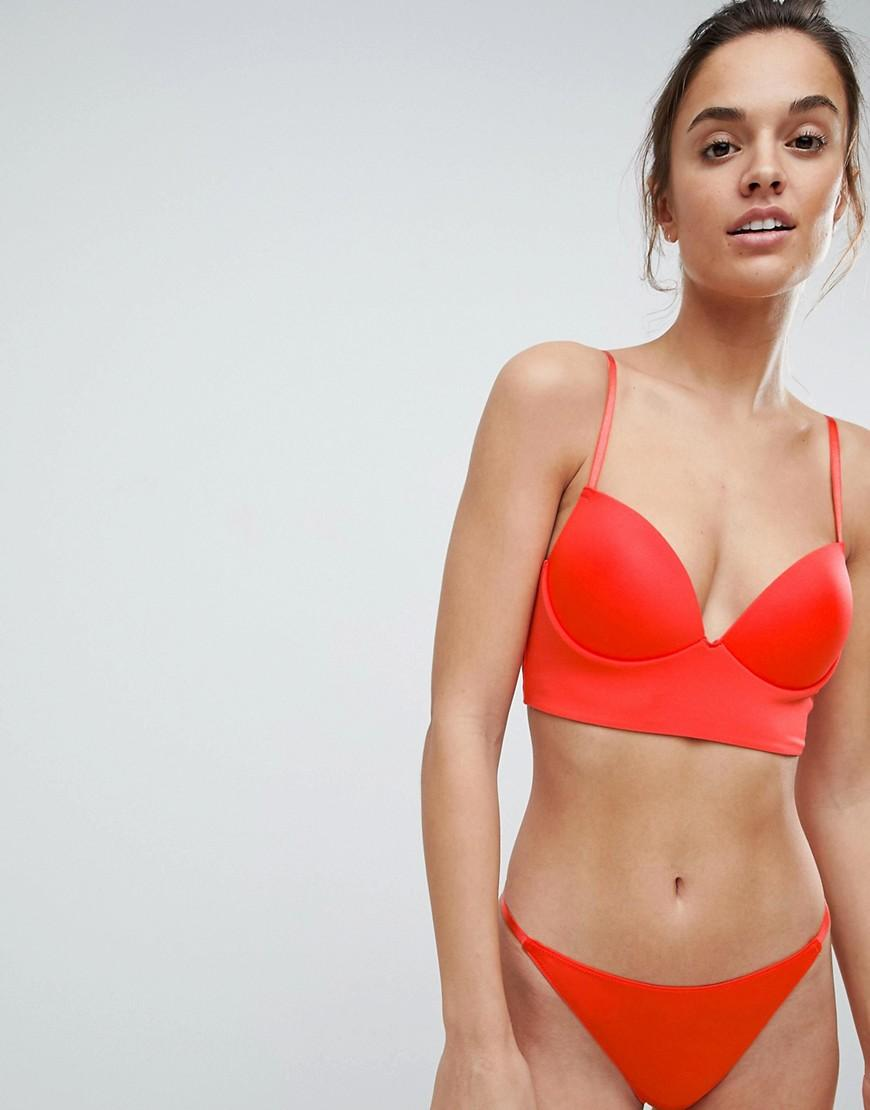c9bfe426d3 Lyst - ASOS Asos Padded Pull On Easy Longline Triangle Bra in Red