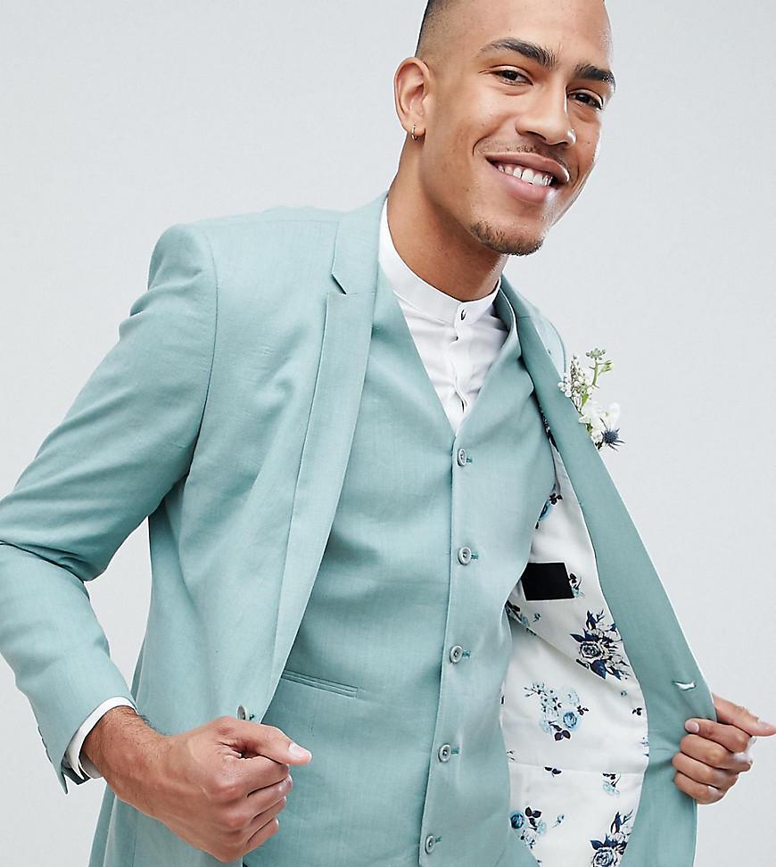 Lyst - Asos Design Tall Wedding Super Skinny Suit Jacket In Sage ...