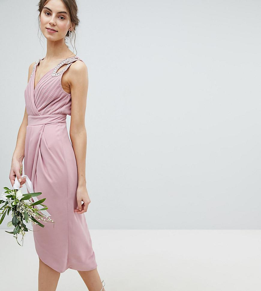 0664b3bec68ca TFNC London Wrap Embellished Midi Bridesmaid Dress in Pink - Lyst
