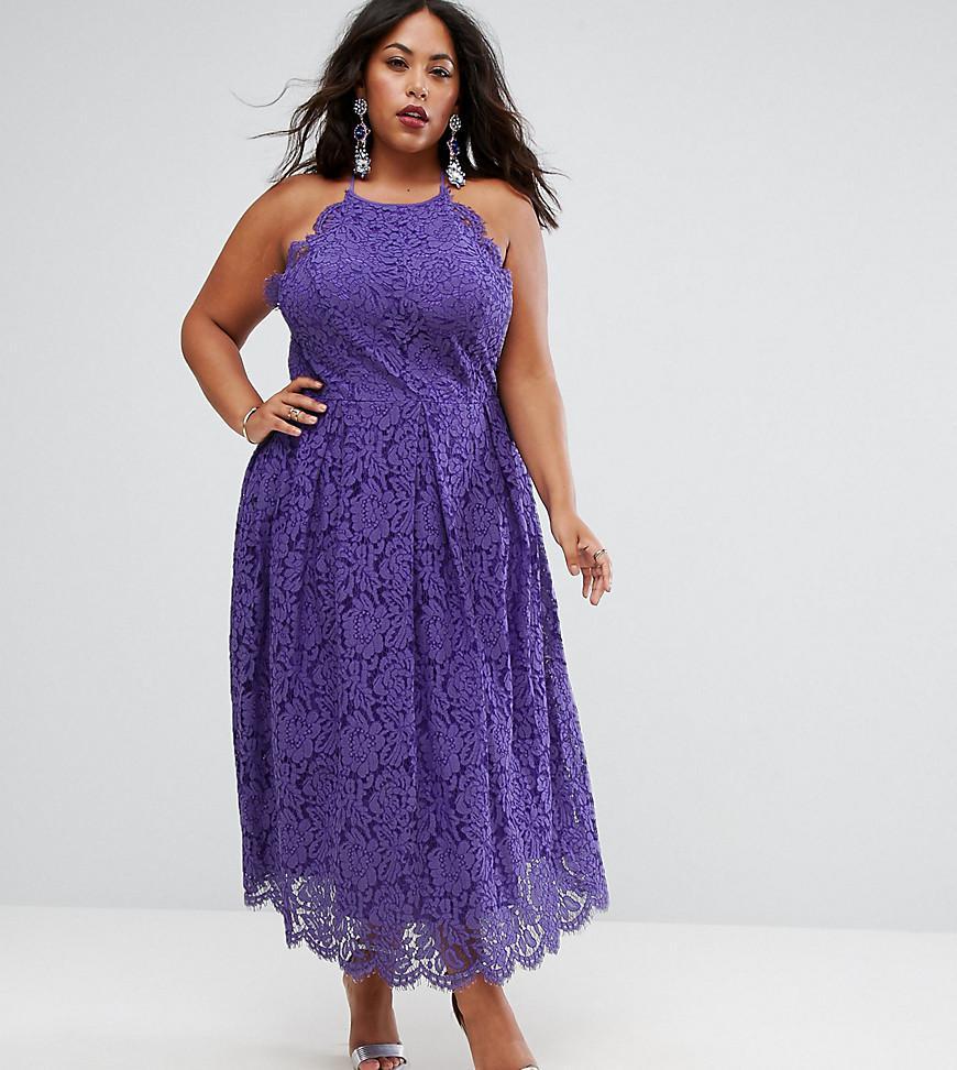 Lyst - Asos Lace Pinny Scallop Edge Prom Midi Dress in Purple
