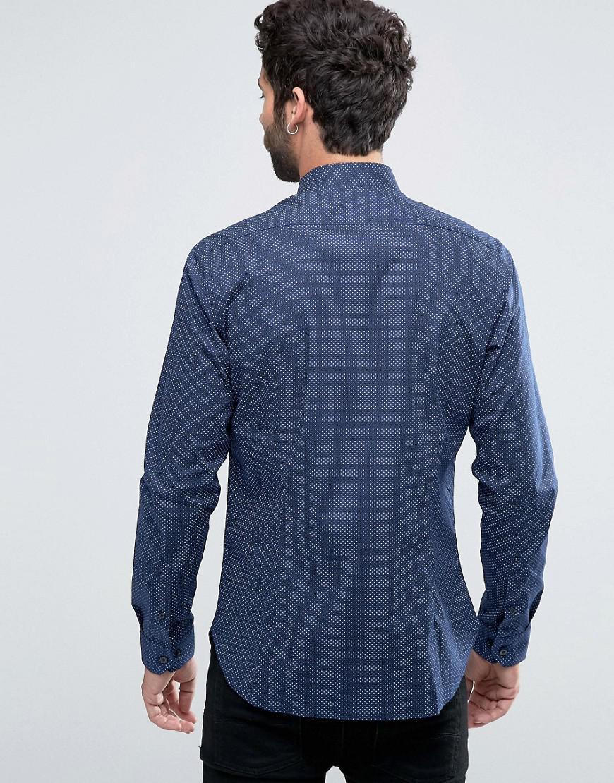 Lyst farah manderson slim fit formal shirt in blue for men for Trim fit tuxedo shirt
