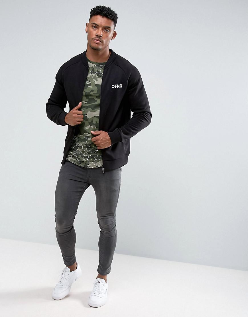 Defend London Synthetic Jersey Bomber Jacket In Black for Men