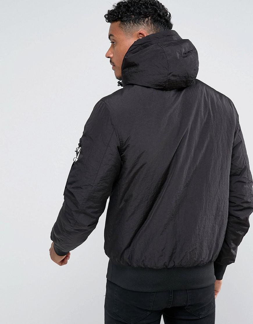 SIKSILK Synthetic Overhead Bomber Jacket In Black for Men