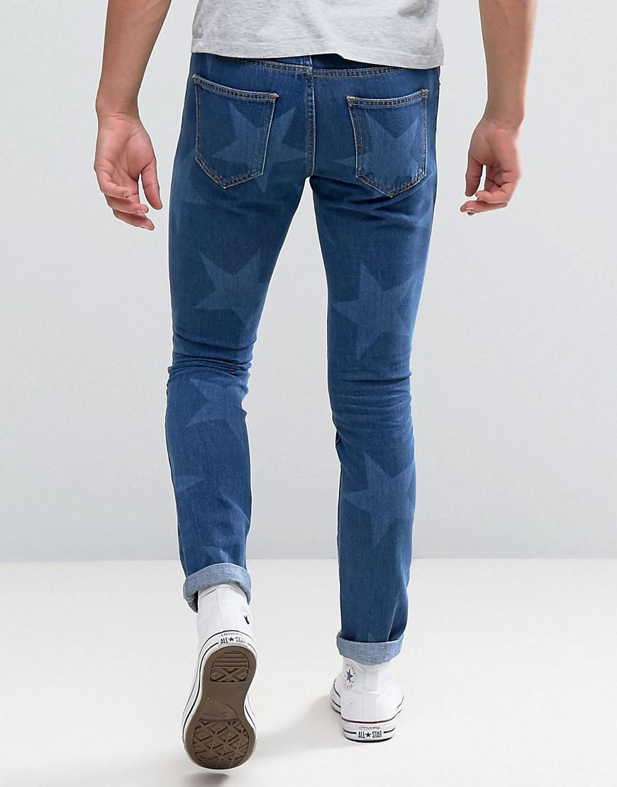 Brooklyn Supply Co. Denim Cropped Jeans With Star Print in Blue for Men