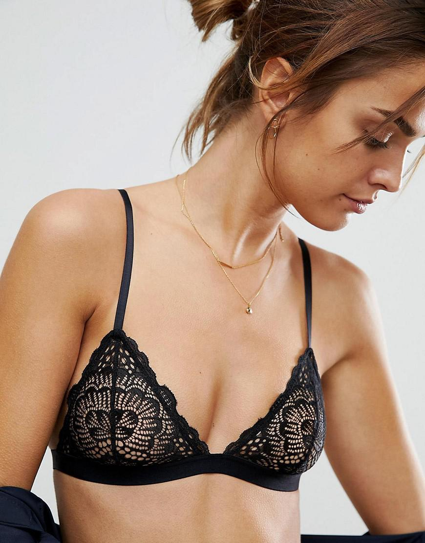 20bc1708669 ASOS Rita Basic Lace Mix   Match Triangle Bra in Black - Lyst