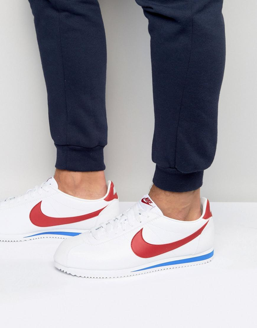 Nike Cortez Leather Trainers In White 749571-154 in White for Men - Lyst 010981722d48