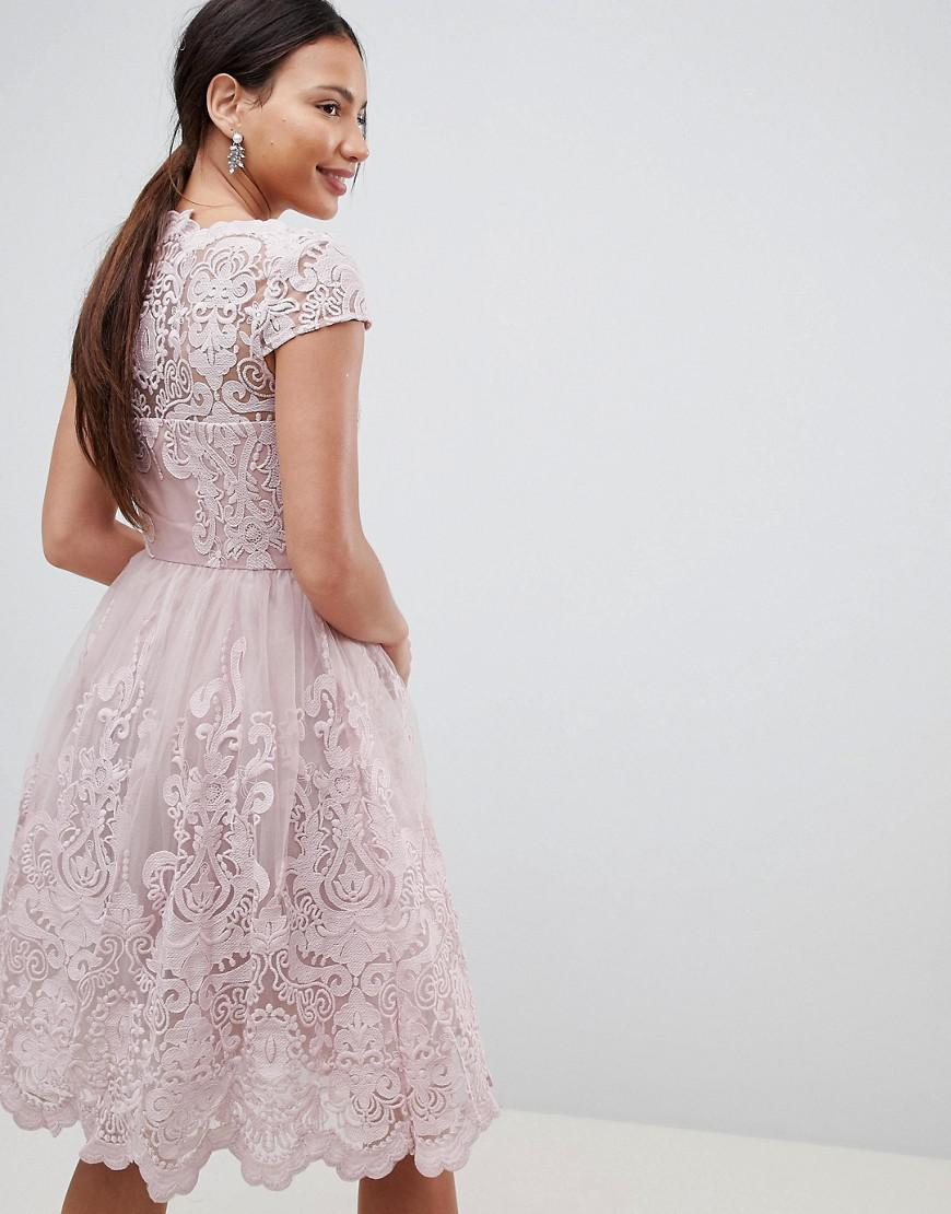 bbce5d88a4 Lyst - Chi Chi London Premium Lace Midi Prom Dress With Bardot Neck In Mink  in Pink - Save 28%
