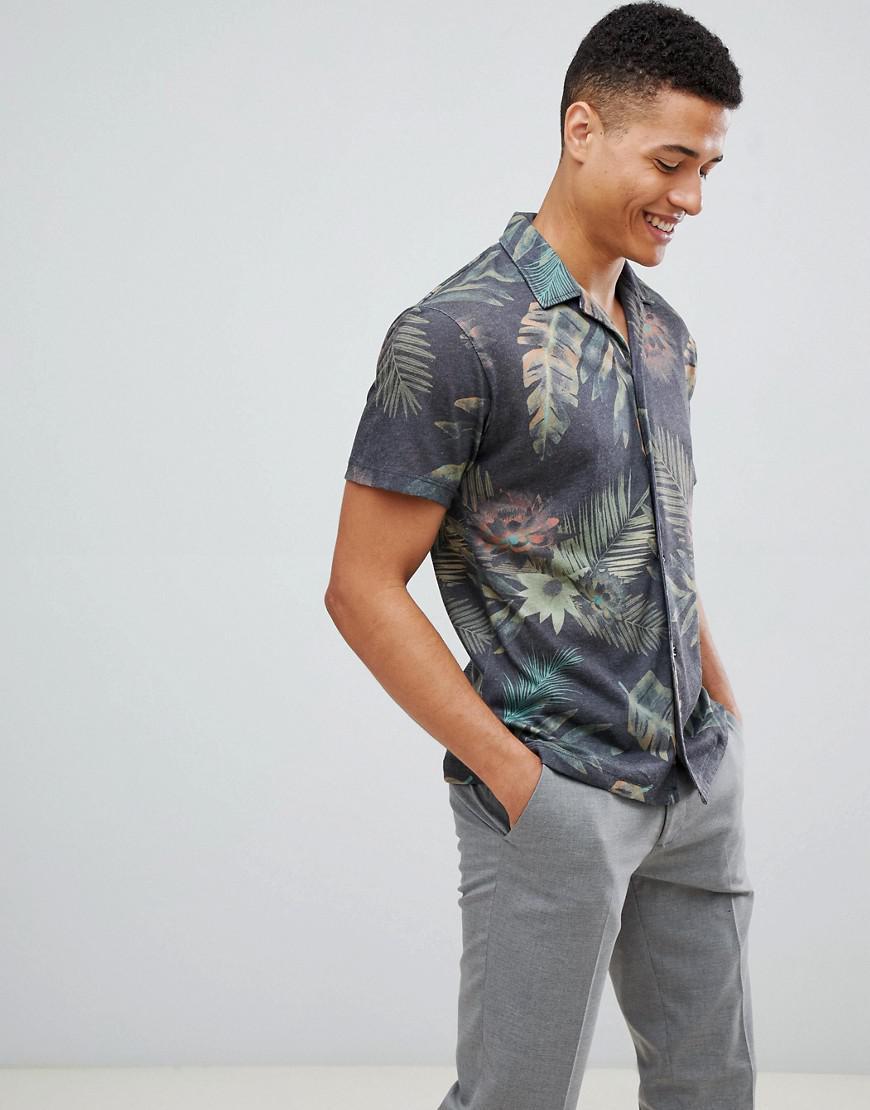 37d2c491e8a Jack   Jones Premium Short Sleeve Shirt In Print With Revere Collar ...