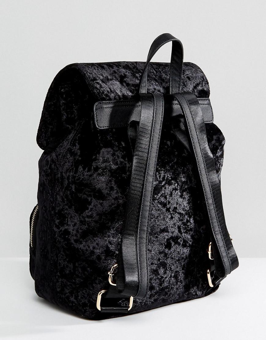 Velvet Double Buckle Backpack - Black Faith FZzV3R
